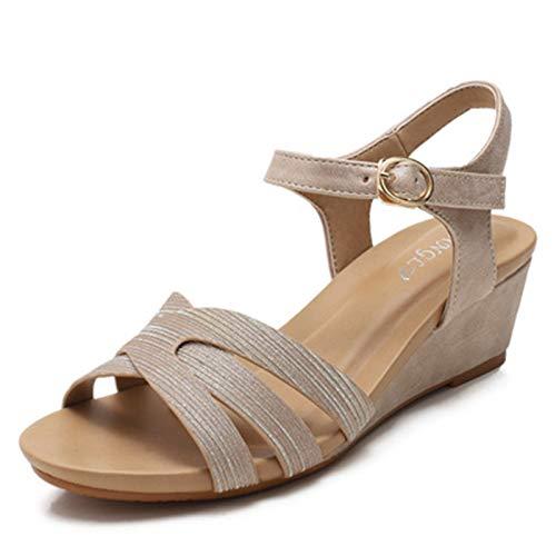 Mujer con Sandalias Zapato de Moda de Verano Casual Ligero Senderismo Shoes Cómodo Talón Pendiente Elegante Roma Sandalias Casual Todo Partido (Color : Beige, Size : 39)