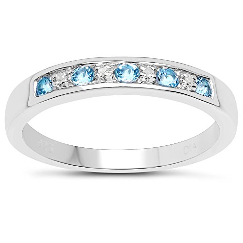 The Diamond Ring Collection: 3mm wide Sterling Silver Channel set Blue Topaz & Diamond Eternity Ring (Size V)