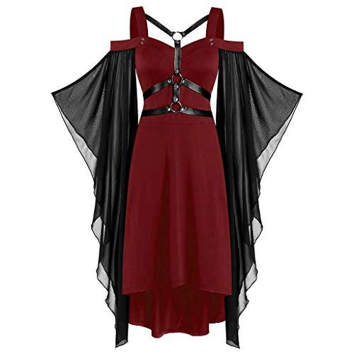 HuaCat Damen Gothic Punk Wind Mesh Stitching Strap Sling Kleid Halloween Vintage Mittelalterlichen Cosplay mit Trompetenärmel Schulterfrei Asymmetrisch Party Kostüm Kleidung Partykleider