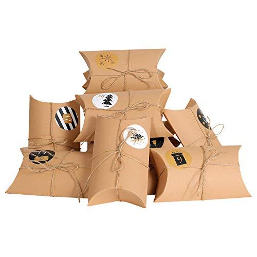 YILEEY 24 STK Klein Geschenkschachtel Kraftpapier Tüten Geschenkbox mit Aufkleber, 17.5 x 9.5cm Braunes DIY Gastgeschenke Hochzeit, Pralinenschachtel Leer Schachtel Kinder Weihnachts Party, MEHRWEG