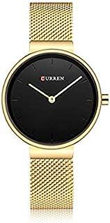Curren 9016 Quartz Movement Round Dial Stainless Steel Strap Waterproof Women Wristwatch - Gold