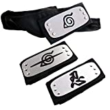 Lystin Naruto Headband, 3 PCS Naruto Cosplay Headband Naruto Leaf and Anti Leaf Village Ninja Headband Ninja Kakashi Cosplay Accessories