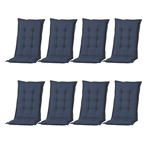 Nordje Hochlehner-Auflagen Comfort Gartenmöbel-Auflage 8er Set | In unterschiedlichen Farben (Blau)