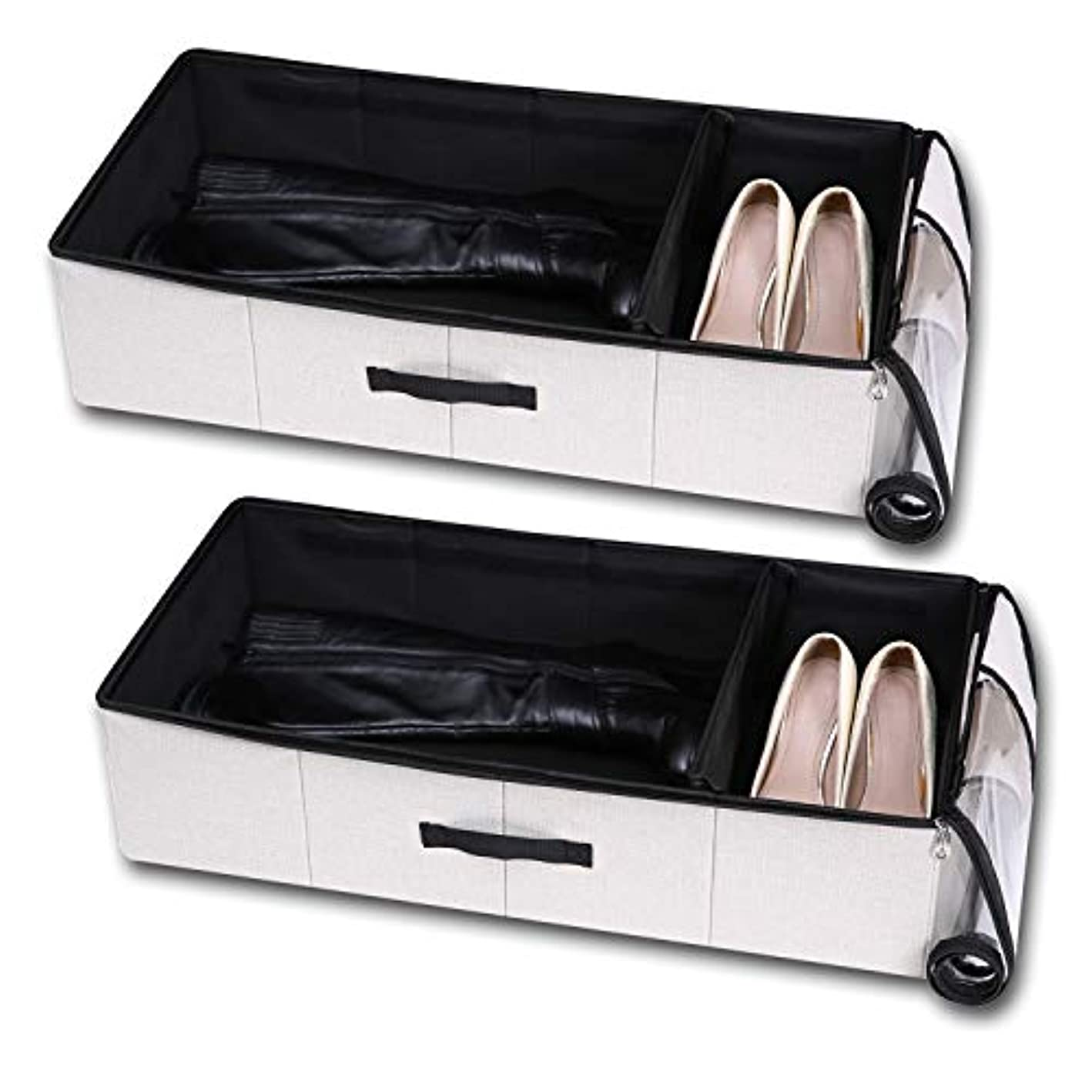 VEAMOR Under The Bed Storage Boxes with Zippered Lid Removable Cardboad, Blankets Storage Box, Dust Proof Organizer Basket for Duvets (Linen 2pcs)