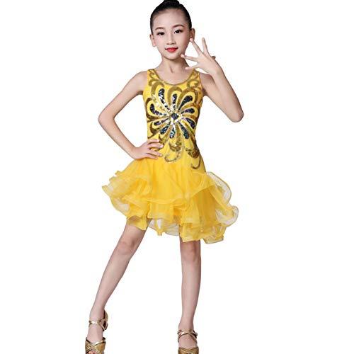 Maritown Mädchen Latin Dance Kleid, Blumenmuster Tutu Kleid Kinder Kinder Pailletten Latin Tango Ballsaal Salsa Dance Kleid Fransen Quaste Rock Latin Tanzbekleidung
