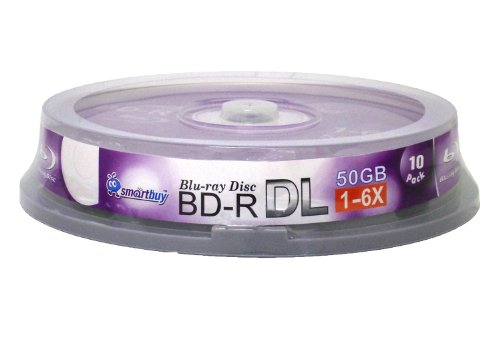Smart Buy 10 Pack Bd-r Dl 50gb 6X Blu-ray Double Layer Recordable Disc Blank Logo Data Video Media 10-Discs Spindle