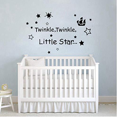 Wandaufkleber Kinderlied Twinkle Little Star Baby Kinderzimmer Dekor Vinyl Wandaufkleber Zitat Aufkleber PVC Wandtattoos