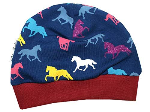 Kleine Könige Mütze Baby Mädchen Beanie · Mitwachs-Funktion · Modell Pferd Glitzer Horses Bordeaux · Ökotex 100 Zertifiziert · Größe 98/104