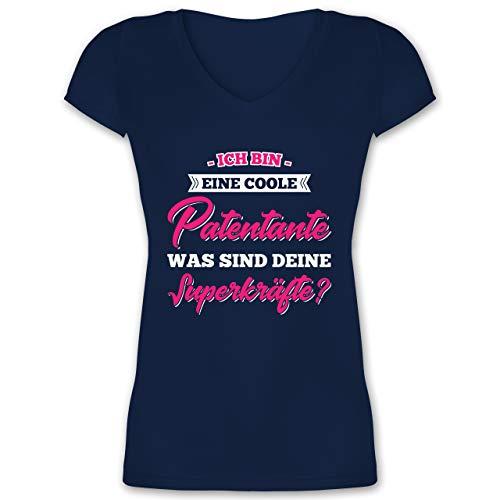Schwester & Tante - Ich Bin Eine Coole Patentante was Sind Deine Superkräfte - L - Dunkelblau - XO1525 - Damen T-Shirt mit V-Ausschnitt