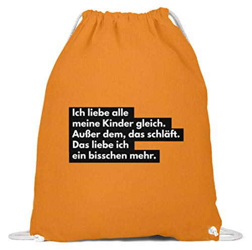 shirt-o-magic Mutter: Ich liebe schlafende Kinder - Baumwoll Gymsac -37cm-46cm-Orange