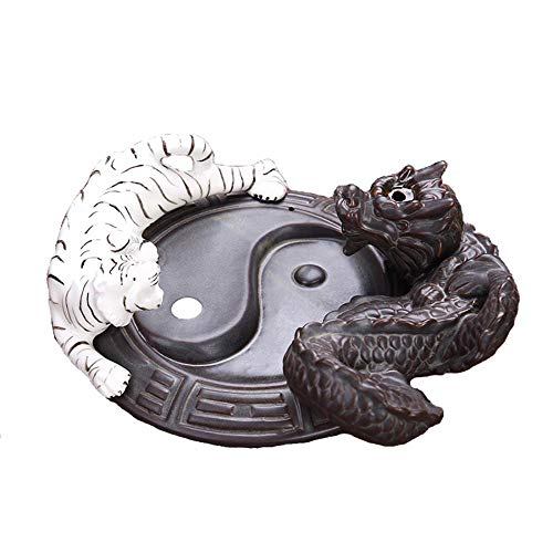 LEAFIS Dragon Incense Burner Ceramic Handcrafted Backflow Incense Burners for Office Home Decor, with 10PCS Incense Cones (Dragon/Tiger)