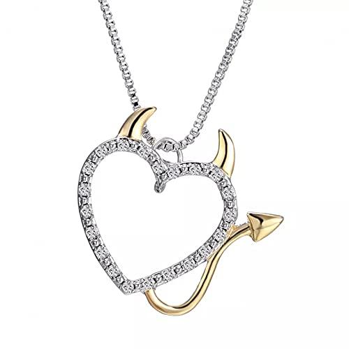 SOTUVO Collar Precioso Collar de corazón de Diablo de Amor de Cristal para Mujer, Colgante, Collar de Cadena Plateada, joyería Familiar, Regalo, Collar de Gato