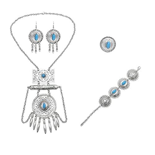xiangwang Conjuntos de joyería para bohemia tibetana de color plateado, metal, rojo, azul, collar, pulsera, pendientes, indio, turco, tribal (color metálico: azul)