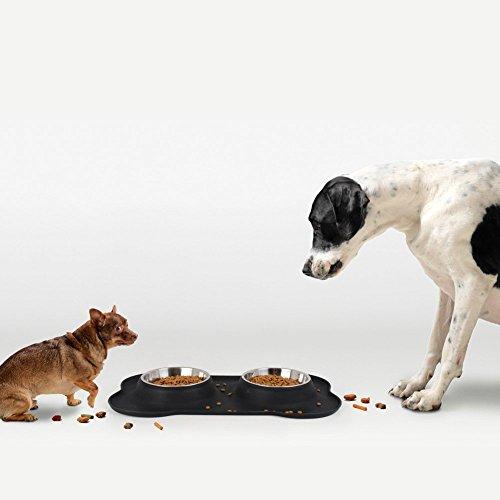 Edelstahl Fressnapf, 2 x 350ml Doppel Hundenäpfe Futternapf mit nicht kleckern rutschfesten silikon tablett matte für kleine Hunde und Katzen aller Größen von JISIMA - 3