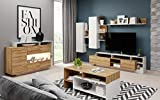Wohnwand Anbauwand Wohnzimmerset Schrankwand Alex Holzoptik Kommode Couchtisch Set Möbelset Weiß Grandson Eiche 13 (Wohnwand + Couchtisch)