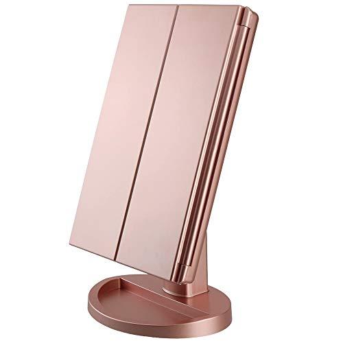 Beleuchteter Schminkspiegel mit 3X 2X-Vergrößerung, Klappspiegel mit LED-Beleuchtung, Touchscreen-Schalter, um 180° verstellbarer Ständer, zwei Stromversorgungsmodi, Tischspiegel (Roségold)