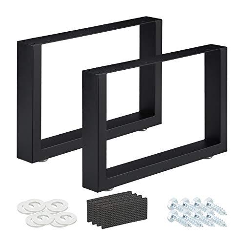 Relaxdays Tischkufen 2er Set, BxH: 64x40 cm, Metall Tischbeine Schreibtisch, Esstisch, Couchtisch, Industrial, schwarz, 64 x 40 cm