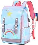 School Backpack for Teen Girls Women Bookbag School Bag 15.6 inch Laptop Backpack Daypack for School Travel (Sky Rainbow)