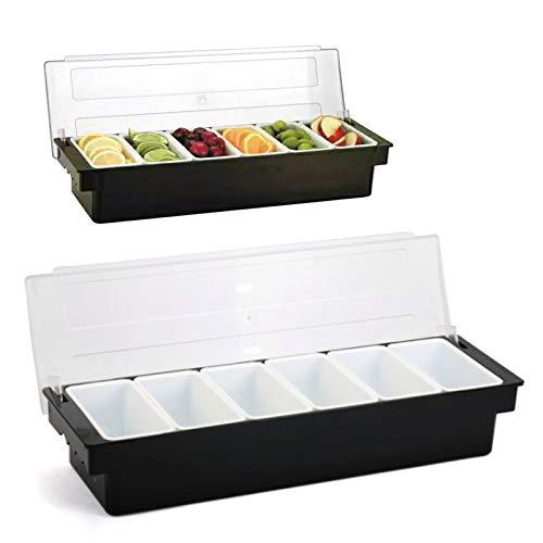 Wangkangyi Contenedor de ingredientes: recipiente negro de plástico ABS con tapa de policarbonato transparente, 6 compartimentos, 500 ml de contenido por compartimento/50 x 15 x 10 cm |