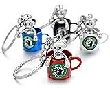 Llavero original con diseño de oso de Nueva York, taza de café, 4 colores a elegir (blanco)