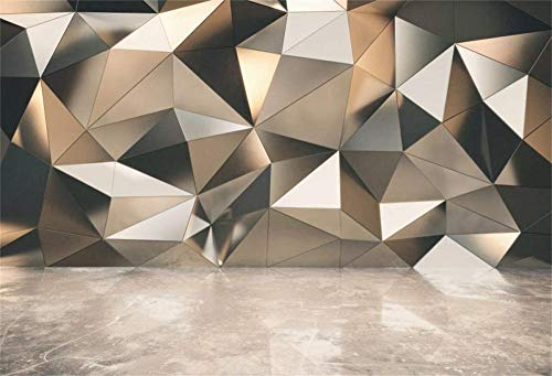 NEW 7x5ft Interior Diamond Wall Backdrop 3D Futuristic Wall and Concrete Floor Photography Background Kids Birthday Baby Shower Wedding Artistic Portrait Photoshoot Props Digital Wallpaper