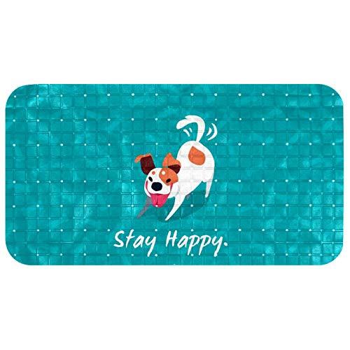 LANIY Alfombrilla antideslizante de seguridad para baño, lavable a máquina, para ducha, baño, gimnasio, cocina, para niños, Elde Dog Aqua Quote Stay Happy