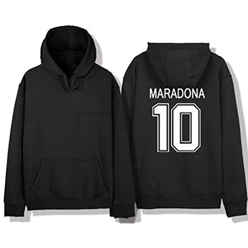 Fußball-Trikot Hoodies M / r / d / na 10# Sportbekleidung, leicht, atmungsaktiv, klassisch, lässig, Unisex, tragbar, Fußball-Fan, tägliche Aktivitäten, gute Wahl Gr. XL, Schwarz