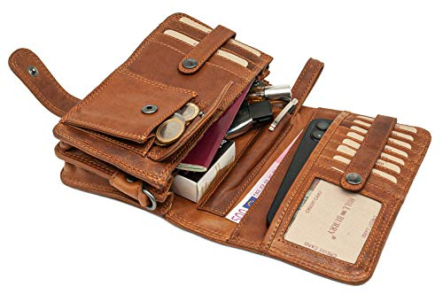 Hill Burry Echt-Leder Umhängetasche | Reisebrieftasche aus hochwertigem Rindsleder - Organizer | Reisebrieftasche - Damen & Herren | Handgelenktasche - Travel Wallet (Braun)
