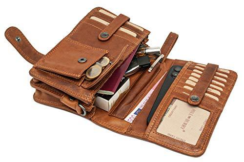 Hill Burry Echt-Leder Umhängetasche   Reisebrieftasche aus hochwertigem Rindsleder - Organizer   Reisebrieftasche - Damen & Herren   Handgelenktasche - Travel Wallet (Braun)