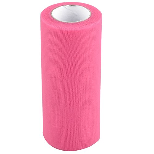 uxcell Lady Polyester Handmade Sewing DIY Dress Tulle Spool Roll 6 Inch x 25 Yards Dark Pink