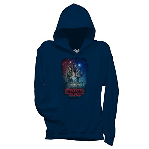 MUSH Felpa Stranger Things Characters - Film by Dress Your Style - Bambino-M-Blu Navy