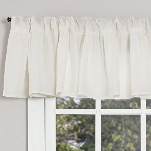 "Annabelle Ruffled Valance Curtain, 72"" x 16"", Antique Soft White, Semi-Sheer, Vintage Farmhouse Chic Style Curtain"