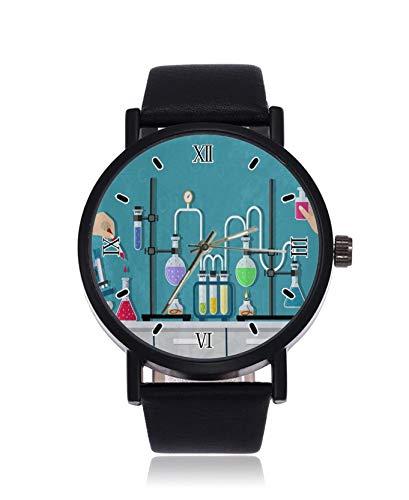 Instrumento químico hombres mujeres moda imitación cuarzo reloj pulsera negro correa hombres y mujeres