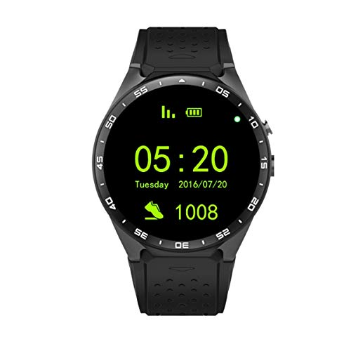 Greatangle King-Wear KW88 SmartWatch Podómetro Dispositivo de Ritmo cardíaco Anti-pérdida para Android 5.1 Sistema operativo Soporte WiFi Negro Deslucido/Oro Negro