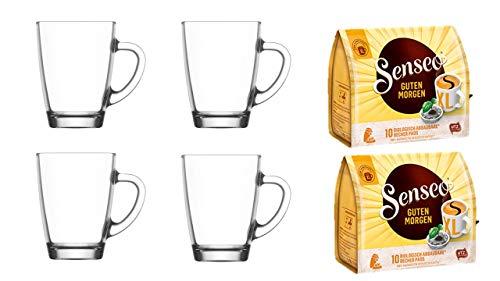 Senseo Kaffeepads Guten Morgen 2er Pack + 4er Set Gläser mit Henkel 300ml ...
