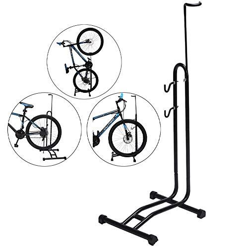 Portabiciclette rimovibile per biciclette 3 in 1, verticale del supporto di parcheggio regolabile in altezza, supporto per supporto da pavimento interno per garage, angolo esterno e officina senza