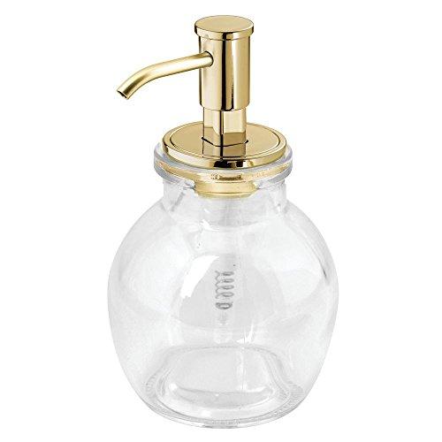 Price comparison product image iDesign 24518 Westport Glass Soap Dispenser Pump For Kitchen,  Bathroom Vanities - Short,  Clear / Soft Brass