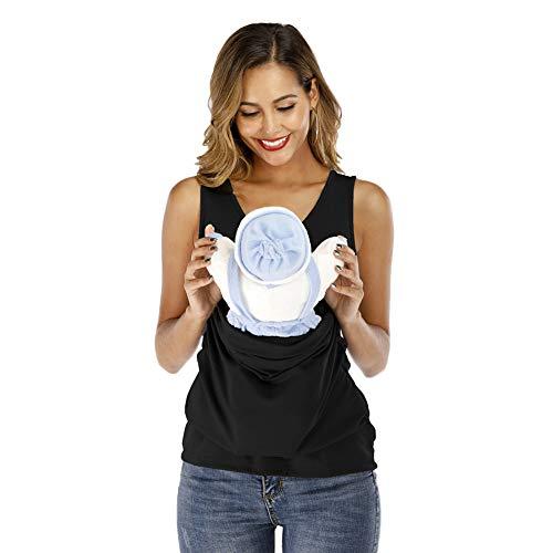 Jnsio Damen Känguru Mami Babytrage Pocket Tops Stillen T-Shirt Bluse Maternity Crewneck Ärmelloses Umstandsmode Weste Mutterschaft T-Shirt,4XL