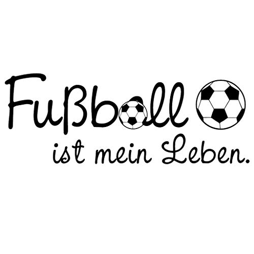 Wandtattoo Fußball ist Mein Leben - 49 Farben - 4 Größen/schwarz / 20 x 53 cm