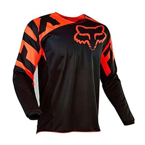 Radtrikot Herren Mountainbike Motocross Jersey Langarm MTB T-Shirt (M,Black)