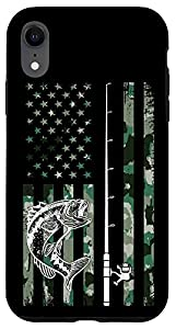 iPhone XR Fishing rod Bass USA Fish camouflage Camo American US Flag Case