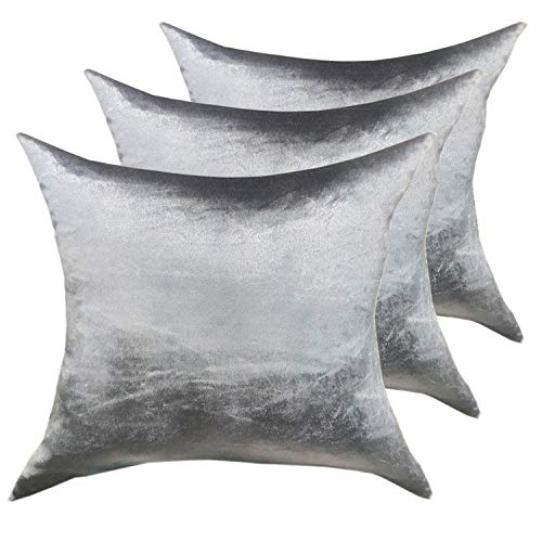 Decoratief kussen sierkussen set 3 stuks sofa kussen velours fluweel 45 x 45 cm glad oppervlak zilvergrijs