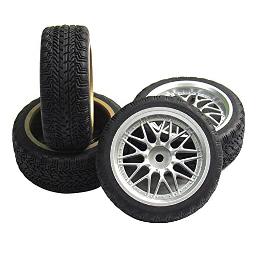 powerday 12mm Hub Wheel Rims Rubber Tires for RC 1/10 on-Road Touring Racing Car A for RC 1: 10 on-Road Racing car, Drift, Touring car (4pcs)