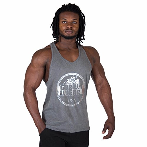 Gorilla Wear Mill Valley Tank Top - Fitness Stringer Herren Bodybuilding Gym Grau XL