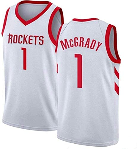 Enid Camiseta de baloncesto Tracy Houston, Mcgrady bordada de malla de baloncesto sin mangas #1 ropa blanca
