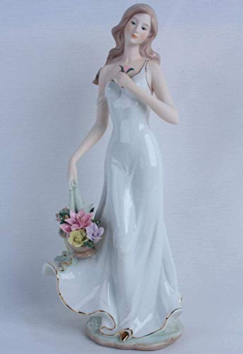 DDGD Sculpture Porcelain Lady with Flower Basket Sculpture Ceramic Belle Character Miniature Gift and Craft Ornament Accessories Embellishment
