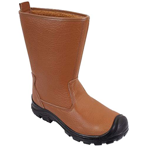 DURUS WORKWEAR Steel Toe Cap Safety Protective Fur Lined Rigger Boot Tan