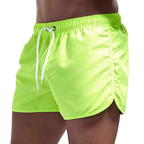 JURTEE Hombre Pantalones Cortos de Playa Secado Rápido Bañador Estampado Beach Shorts Sólido de Color Surf Cintura Elástica Deportivos Corriendo Trajes de Baño(Verde,XL)
