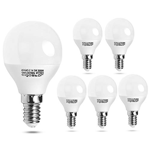 Aigostar - Bombilla LED A5 G45, Casquillo E14, 5 W Ahorro de energía, Luz calida 3000K, 400 lúmenes, no regulable - Pack de 5