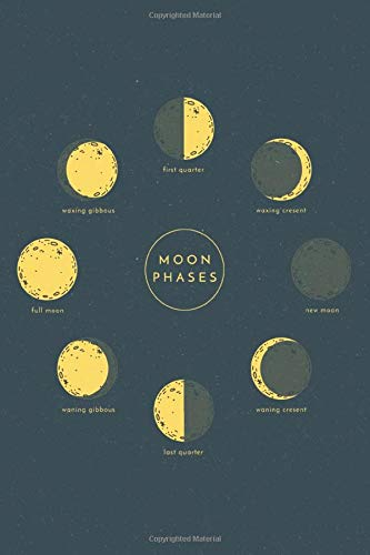 Moon Phases: medium size notebook with lined interior, page number and date, ideal for organization, daily planner, journal, taking notes, diary / astronomy, astrology, vintage